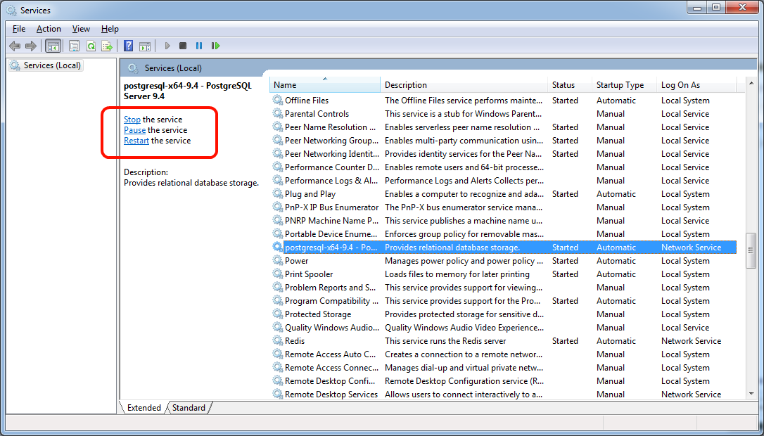 How to perform common PostgreSQL tasks on Windows