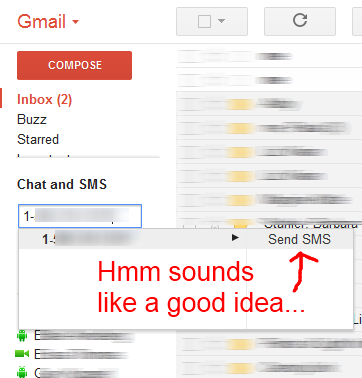 Sending a text message from Gmail (labs feature)